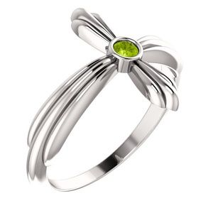 14K White Peridot Sideways Cross Ring